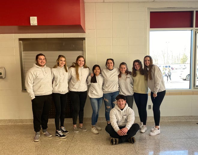 (From left to right) Bedford High School students Niko Schmieder, Joelle Dey, Noelle Armstrong, Jillian Micua, Kerstin Nadolny, Connor Becker, Camryn Rufenacht, Makena Beck and Raylynn Nocella have been raising money as part of the Leukemia and Lymphoma Society's Students of the Year program.