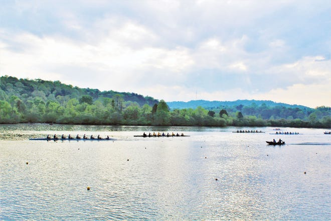 A submitted photo of rowers on Melton Hill Lake. The city of Oak Ridge and the Oak Ridge Rowing Association, will host the 2021 Oak Ridge Louisville Cardinal Invitational Regatta on March 13 and 14.