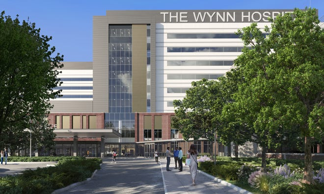 This artist's rendering shows the front of the Mohawk Valley Health System's The Wynn Hospital, which is under construction in downtown Utica. The Wynn Family Foundation has given the health system a $50 million donation. Real estate developer Steve Wynn grew up in Utica.