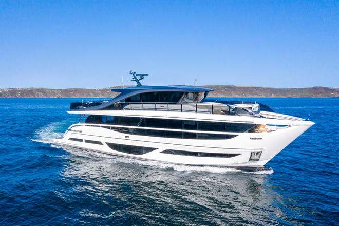 The new Princess X95 is the fifth hull of a new class and the first model built for the United States.