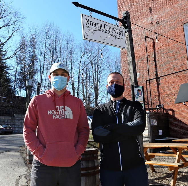 Silas Gordon, left, and Ron Dixon, co-owners of North Country Cider in Rollinsford, are proud that their company has been nominated as one of the 10 best cidermakers in the country in a contest run by USA Today.