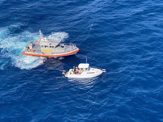 Coast Guard Station Lake Worth Inlet rescue crews arrived on scene to a 30-foot vessel reportedly taking on water approximately 30 miles off Jupiter on Friday. The crew determined the vessel was not in distress, just overloaded with people. U.S. COAST GUARD