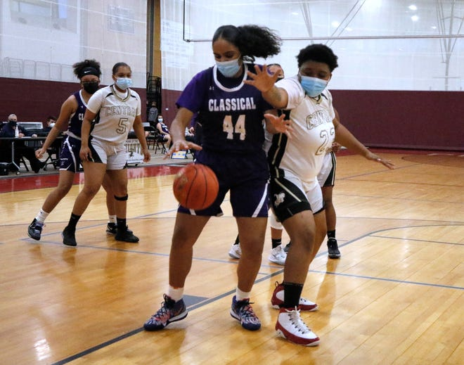 Classical's Melanie Jimenez (left) had a career-high 28 points, helping a depleted Purple team beat Rogers and earn a spot in the Division II title game for the third straight season.