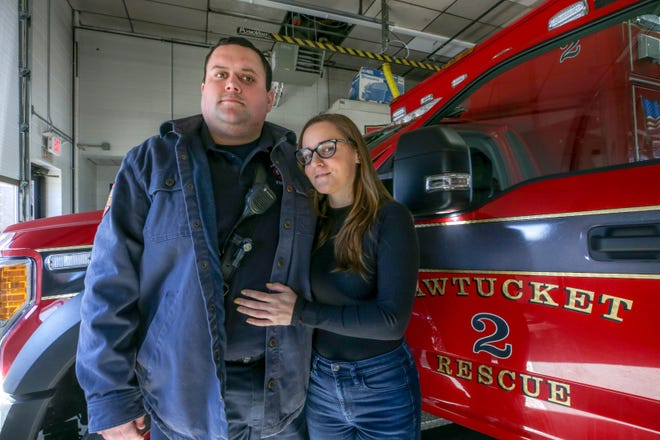Pawtucket firefighter Brad Hazelton with girlfriend Mareza Coggeshall. After responding to COVID calls last March, he contracted the virus and spent 24 days in the hospital, 13 on a ventilator.