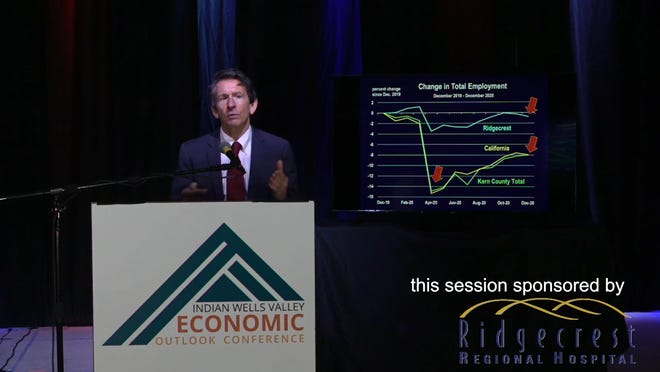 Mark Schniepp discusses Ridgecrest's relatively small rate of job loss in 2020 during the online broadcast of the Indian Wells Valley Economic Outlook Conference Feb. 25, 2021.