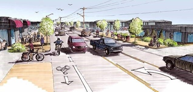 A rendering of what the street will look like when construction wraps up in fall 2021.