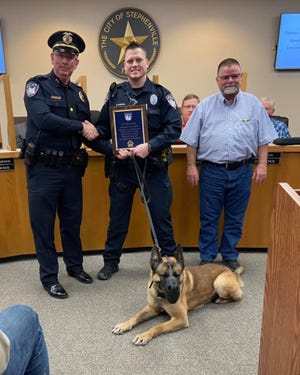 The Stephenville City Council marks the retirement of K9 Officer Buky at its Tuesday meeting. Buky has honorably served the city of Stephenville and Stephenville Police Department by taking both narcotics and dangerous criminals off of the streets. In addition, he has made a large impact in the community from increasing community relations to de-escalating high-risk calls for service to dismantling drug trafficking organizations across North Texas.