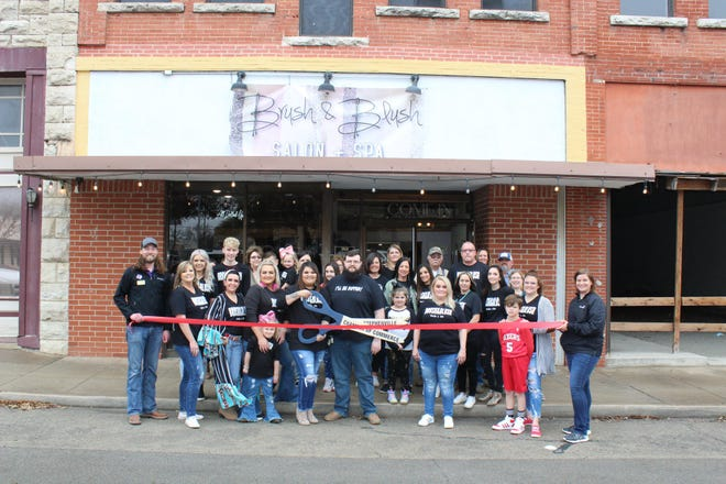 The Stephenville Chamber of Commerce welcomed new member Brush and Blush Salon and Spa with a ribbon-cutting ceremony on Feb. 27. Brush & Blush Salon and Spa is a trendy salon located on the downtown square offering a broad range of services including color, cuts, full body waxing, facials, sprays tans, Brazilian blowouts, and special occasion hair and make-up. To schedule an appointment call or check out the salon's Facebook page. For more information, visit bit.ly/RC-BrushandBlush