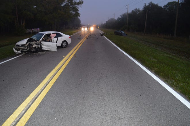 The scene of a fatal crash on River Road near Center Road in Sarasota County on Nov. 29, 2020.