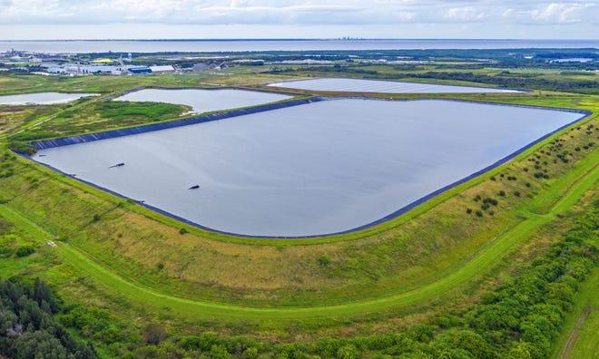 Piney Point phosphogypsum stacks in Manatee County, Florida, in 2020.