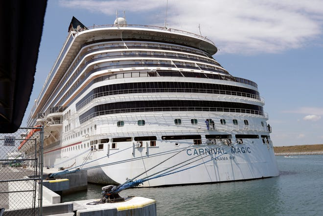 The Carnival Magic cruise ship is docked at Port Canaveral in April 2020, when the COVID-19 pandemic forced the cancellation of all U.S. sailings. Cruise lines are ready to start up again from Florida following a judge's ruling last week about vaccinations.