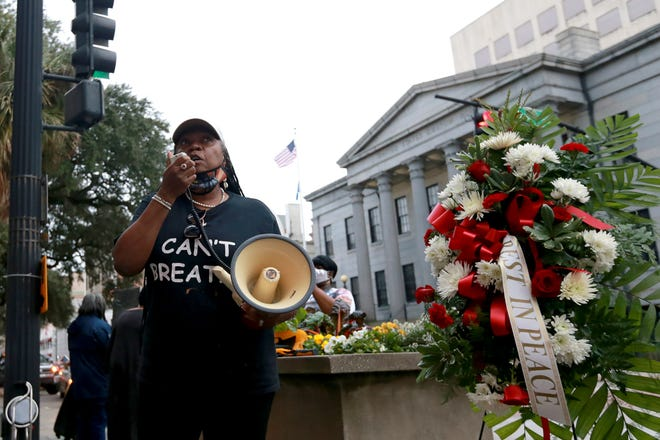 Savannah Alderwoman Bernetta Lanier speaks out against the Salvation Army shelter proposed for West Savannah during a recent march in remembrance of the Weeping Time.