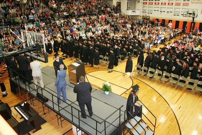 An indoor crowd like the one that attended the Kewanee High School commencement ceremony in 2018 will occur this year. On Sunday KHS graduation will happen outdoors for the first time in 40 years.
