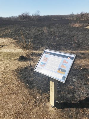 A sign at Plumb Lake County Park describes the environmental reasons behind controlled burns, such as the one done at the park Wednesday.