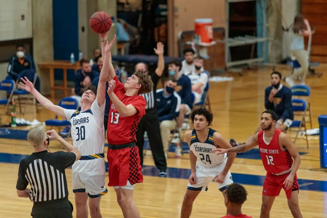 Keene State's Jeff Hunter wins the opening tip-off during the Little East Conference Championship on March 4, 2021.