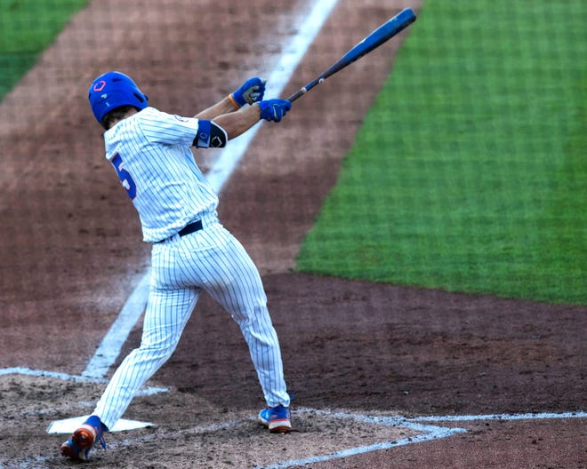 Florida's Colby Halter at the plate Friday against FAMU at Florida Ballpark. Halter later smacked an eighth-inning grand slam.