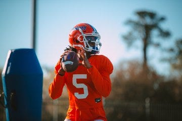 Florida quarterback Emory Jones at spring practice.