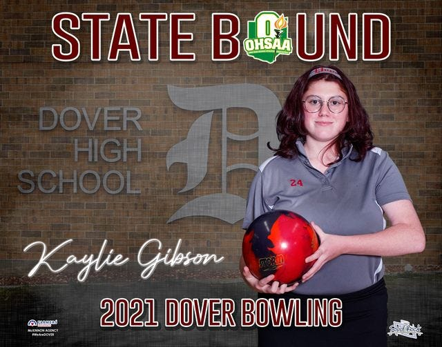 Dover sophomore Kaylie Gibson competed in the Division I State Bowling Tournament Friday.