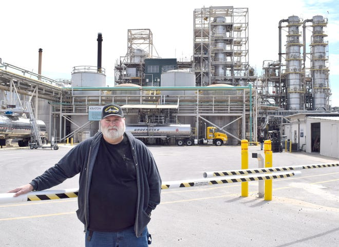Jerry Harbuck stands outside Kraton Chemical next to WestRock Paper Mill. Harbuck retired Feb. 26 after 50 years at the plant.