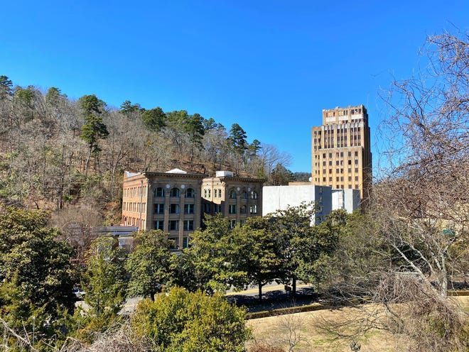 A view of downtown Hot Springs, Ark., from the Grand Promenade walkway.