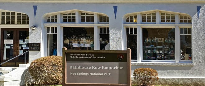 The Lamar Bathhouse now holds a gift shop for visitors to Hot Springs National Park.