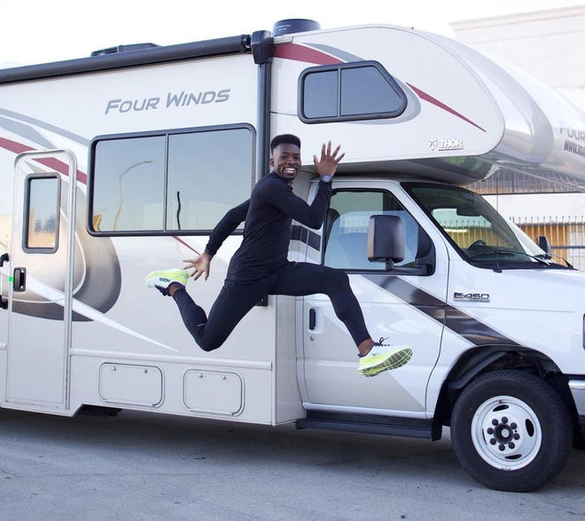 """Runner Hellah Sidibe, also known as """"HellahGood"""" on his social media platforms, ran through the High Desert on Thursday, March 4, 2021, as part of his cross-country journey from California to New York, which he hopes to complete in 100 or fewer days."""