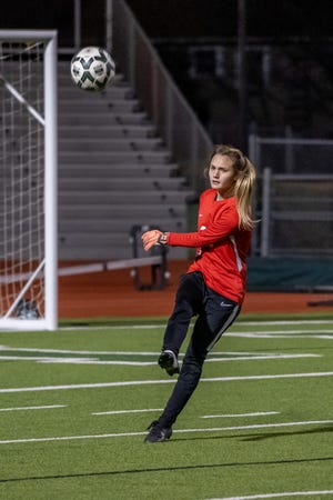 Waxahachie keeper Liv Epps executes a goal kick during a recent home soccer match. The Lady Indians pulled out a scoreless draw at Duncanville on Tuesday, and held third place in the District 11-6A standings heading into the weekend.