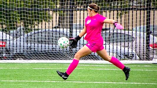 SAGU freshman goalkeeper Zoe Boldt makes a save during Tuesday afternoon's Sooner Athletic Conference home women's soccer match against Oklahoma City University. Boldt made 29 saves in the Lady Lions' 2-0 loss.