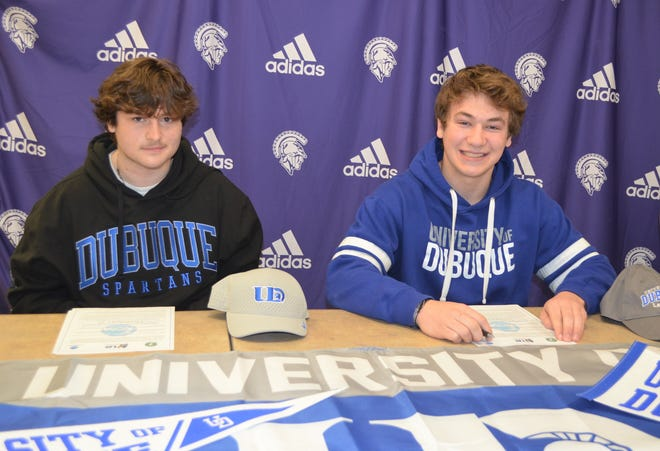 Lakeview's Brandon Herron, right, and Quintten Rangel each have committed to play lacrosse at the University of Dubuque.