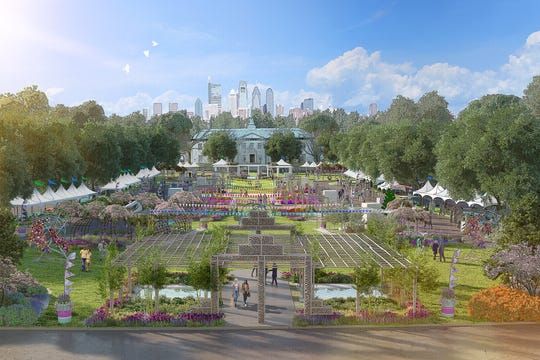 Artist rendering of the major exhibit area of the 2021 Philadelphia Flower Show being held outdoors this year at Franklin Delano Roosevelt Park in South Philadelphia from June 5 to 13. Its theme is Habitat: Nature's Masterpiece.
