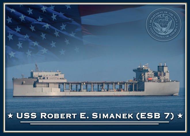 Ilustrasi grafis pangkalan laut ekspedisi masa depan USS Robert E. Simanek, dijadwalkan selesai pada tahun 2024.