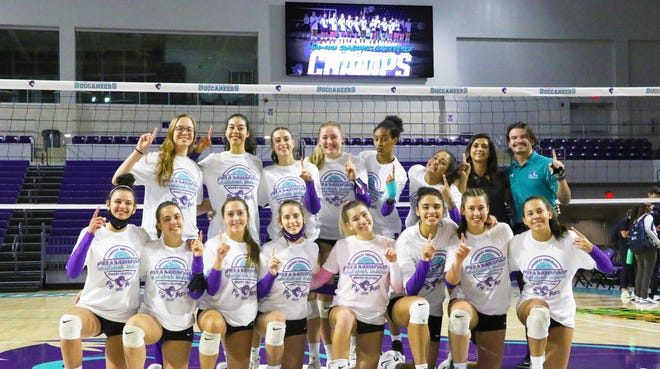 The 2020-21 FSW volleyball team, which won its first Suncoast Conference Championship in the program's second year.