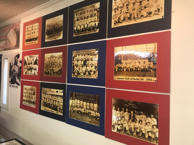 Different team photos from the Negro Baseball League of the 1930s and 40s are on display in Humboldt.