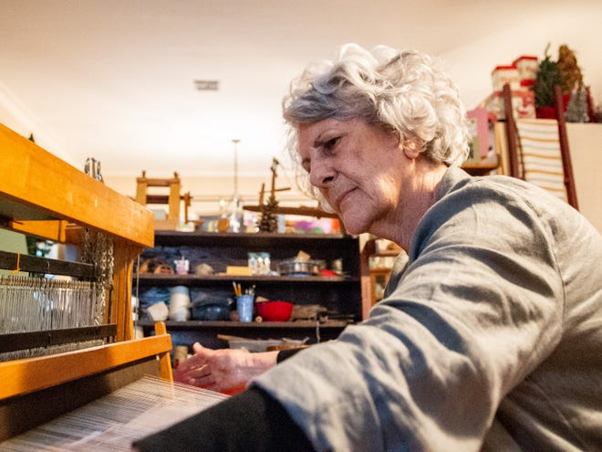 Elaine Bourque is one of a hand full of people weaving the historic brown cotton of Acadiana. She has been weaving since the late 1980s after seeing a demonstration at Festivals Acadiens et Créoles.
