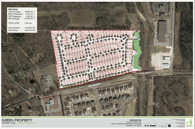 Renderings show an areal fiew of a propsed single-family home subdivision along Walnut Grove Road.