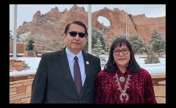 Navajo Nation President Jonathan Nez and first lady Phefelia Nez address recipients of the Chief Manuelito Scholarship in a virtual event on March 3.