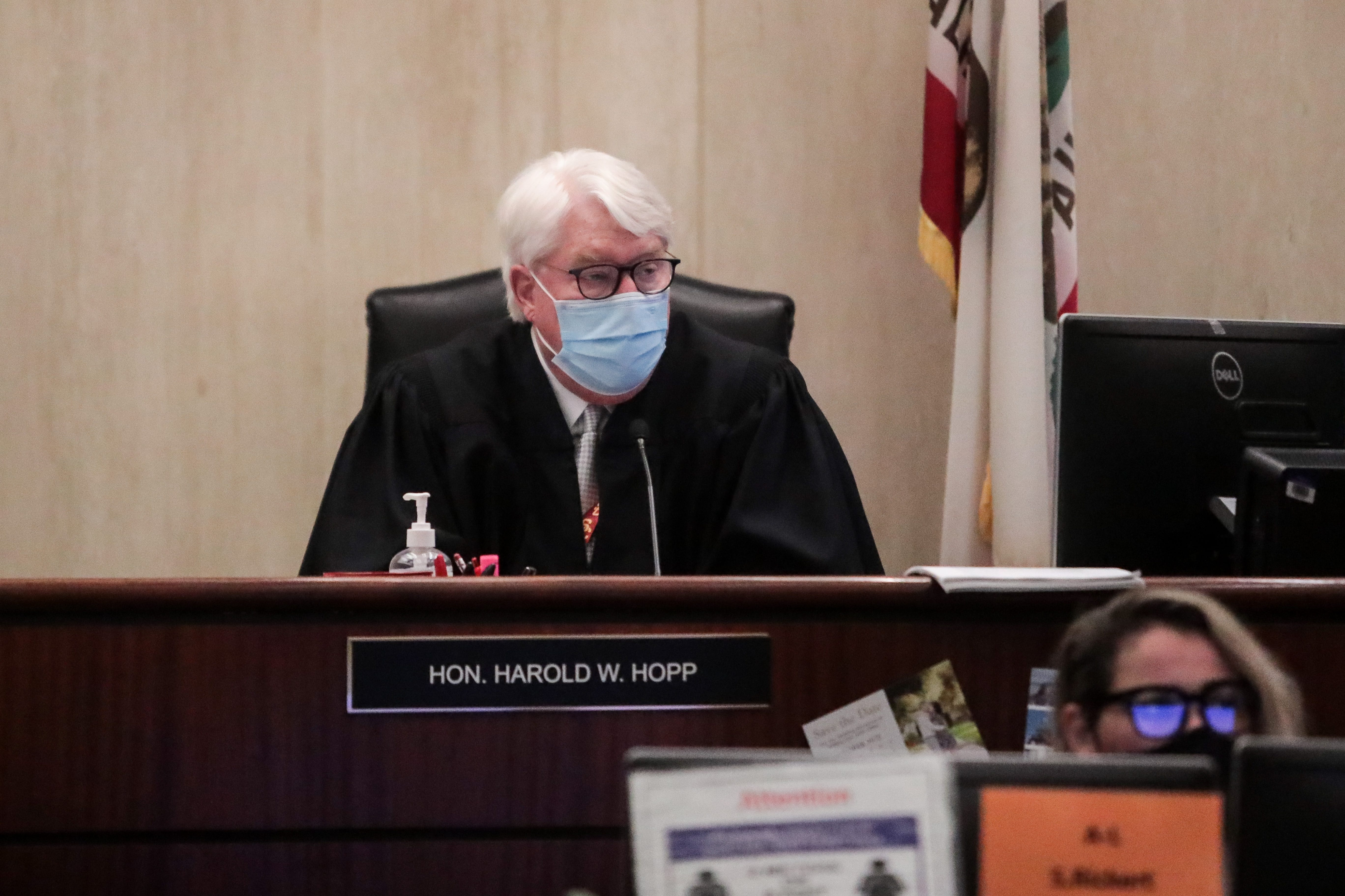 Riverside County Superior Court Judge Harold Hopp presides over a hearing in the Oscar Rodriguez case on March 4, 2021, at the Larson Justice Center in Indio.