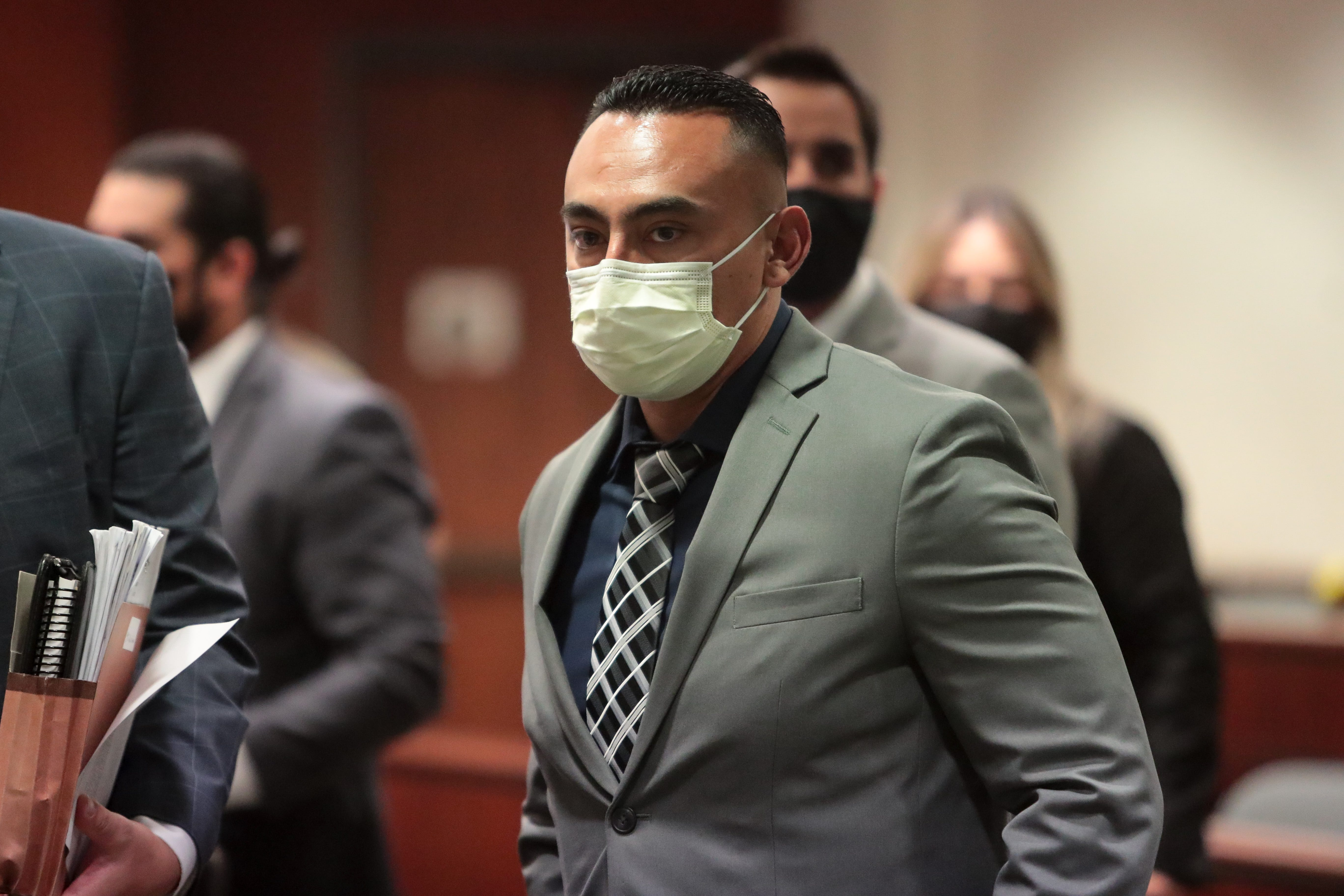 Oscar Rodriguez appears in court on March 4, 2021, at Larson Justice Hall in Indio.