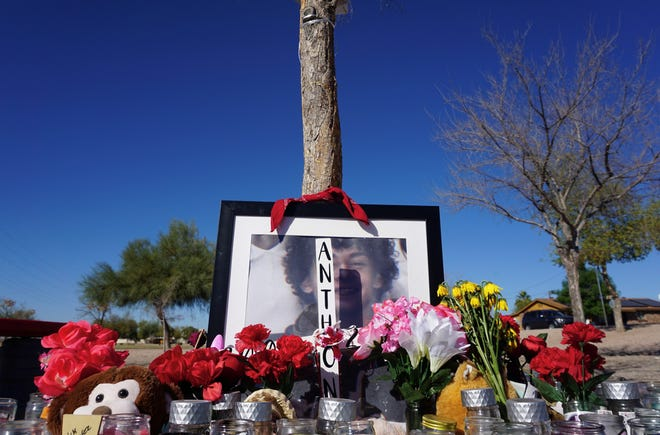 Anthony Cano's family and friends maintain a memorial for him at Gazelle Meadows Park in Chandler on Feb. 25, 2021.