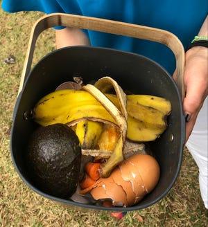 Trash to treasure: vegetable scraps, egg shells, coffee grounds, paper napkins.