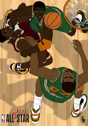 Artwork created by FAMU graphic design student Elijah Rutland will get plenty of exposure during this weekend's NBA All-Star events in Atlanta