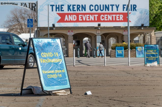 COVID-19 vaccine distribution at the Kern County Fair and Event Center on Thursday, March 4, 2021.