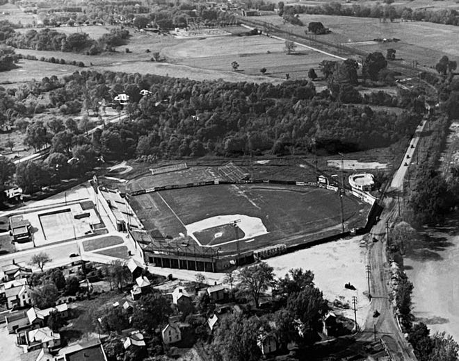 An aerial shot of Municipal Stadium from the mid-20th century.