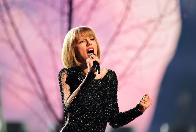 Taylor Swift performs on stage during the 58th annual Grammy Awards in Los Angeles in 2016.