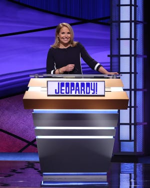 """Katie Couric  is guest host """"Jeopardy!"""" through March 19 as the show seeks a permanent replacement for Alex Trebek."""