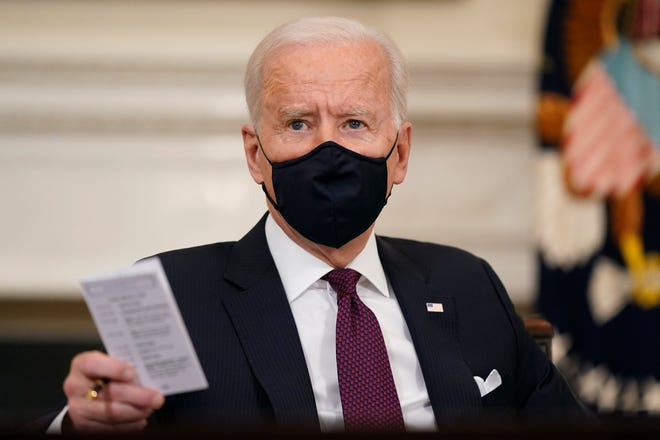 President Joe Biden participates in a roundtable discussion on a coronavirus relief package at the White House on March 5, 2021.