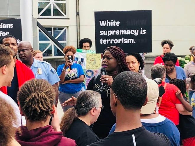Civil rights attorney and Minneapolis, Minnesota, activist Nekima Levy Armstrong, shown here at a rally, plans to be among a dozen groups protesting Monday as the trial of Derek Chauvin in the murder of George Floyds begins.