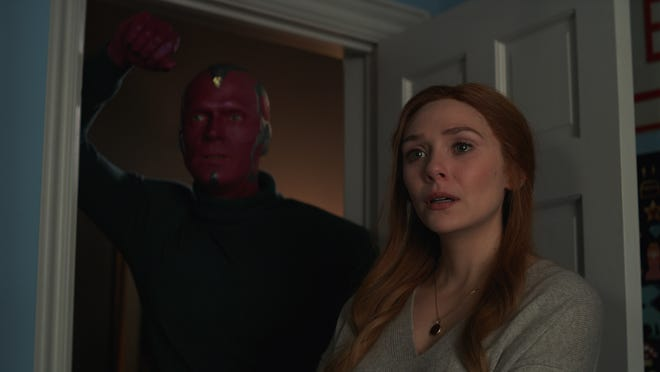 """Vision (Paul Bettany) and Wanda Maximoff (Elizabeth Olsen) have to say goodbye in the finale episode of Disney+'s """"WandaVision."""""""