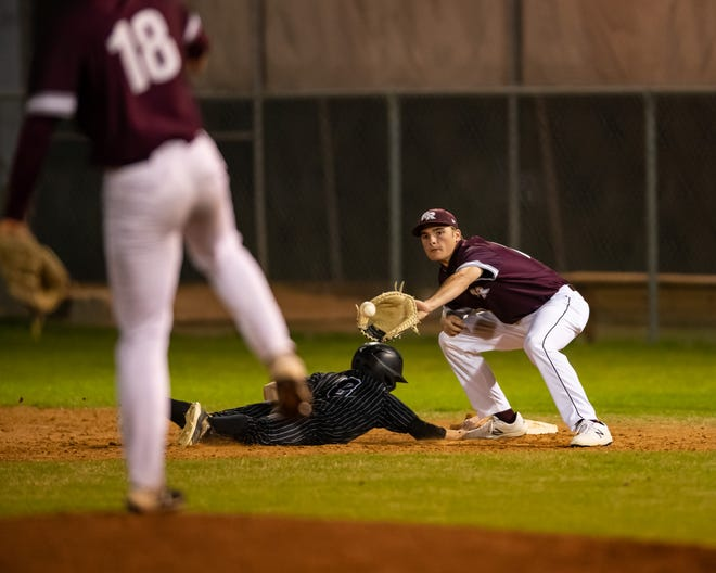 Logan Chancey gets back to first base for Hendrickson ahead of a pickoff throw from Round Rock pitcher Kyler Kirkpatrick to first baseman Brooks Berry in the Dragons' 4-3 win Friday.