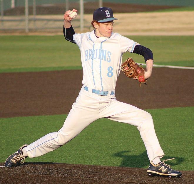 Bartleville High School starting pitcher Eric Olenberger delivered several strikes Friday against visiting Tahlequah High.